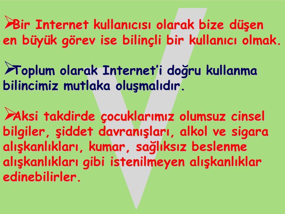  Bir Internet kullanıcısı olarak bize düşen en büyük görev ise bilinçli bir kullanıcı olmak.  Toplum olarak Internet'i doğru kullanma bilincimiz mut
