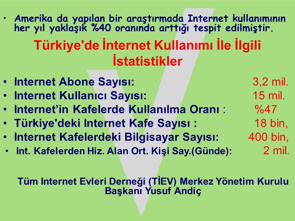 •Amerika da yapılan bir araştırmada Internet kullanımının her yıl yaklaşık %40 oranında arttığı tespit edilmiştir. Türkiye'de İnternet Kullanımı İle İ