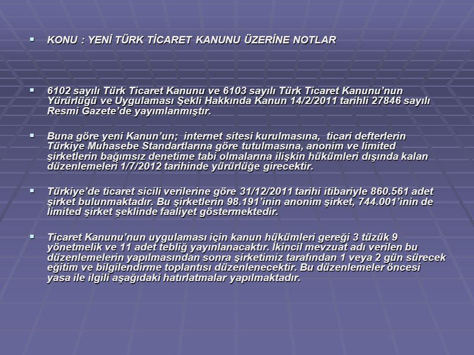  KONU : YENİ TÜRK TİCARET KANUNU ÜZERİNE NOTLAR  6102 sayılı Türk Ticaret Kanunu ve 6103 sayılı Türk Ticaret Kanunu'nun Yürürlüğü ve Uygulaması Şekl