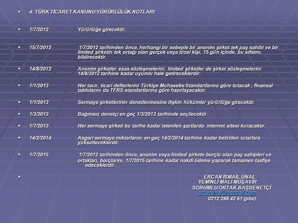  4. TÜRK TİCARET KANUNU YÜRÜRLÜLÜK NOTLARI  1/7/2012 Yürürlüğe girecektir.  15/7/2012 1/7/2012 tarihinden önce, herhangi bir sebeple bir anonim şir