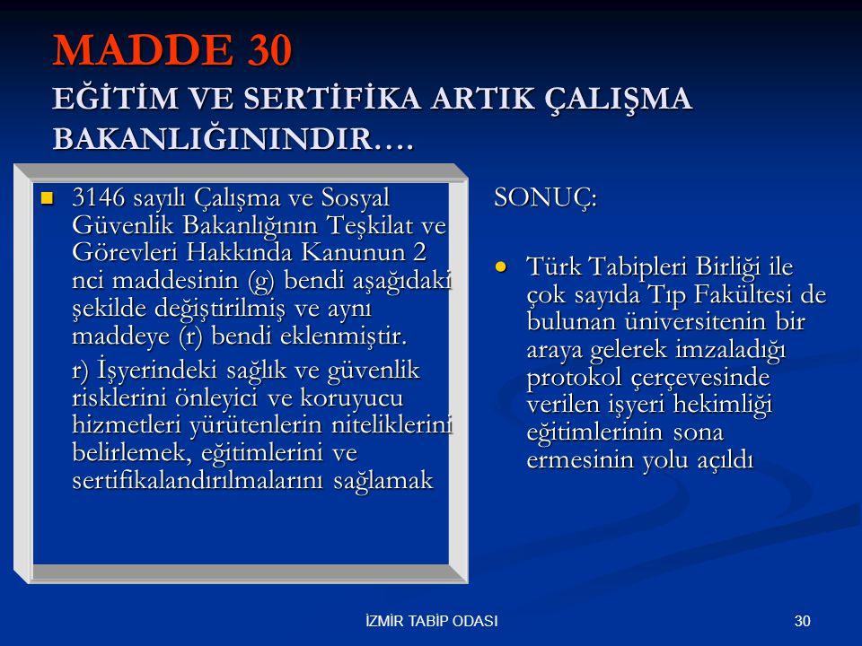 30İZMİR TABİP ODASI MADDE 30 EĞİTİM VE SERTİFİKA ARTIK ÇALIŞMA BAKANLIĞININDIR….  3146 sayılı Çalışma ve Sosyal Güvenlik Bakanlığının Teşkilat ve Gör
