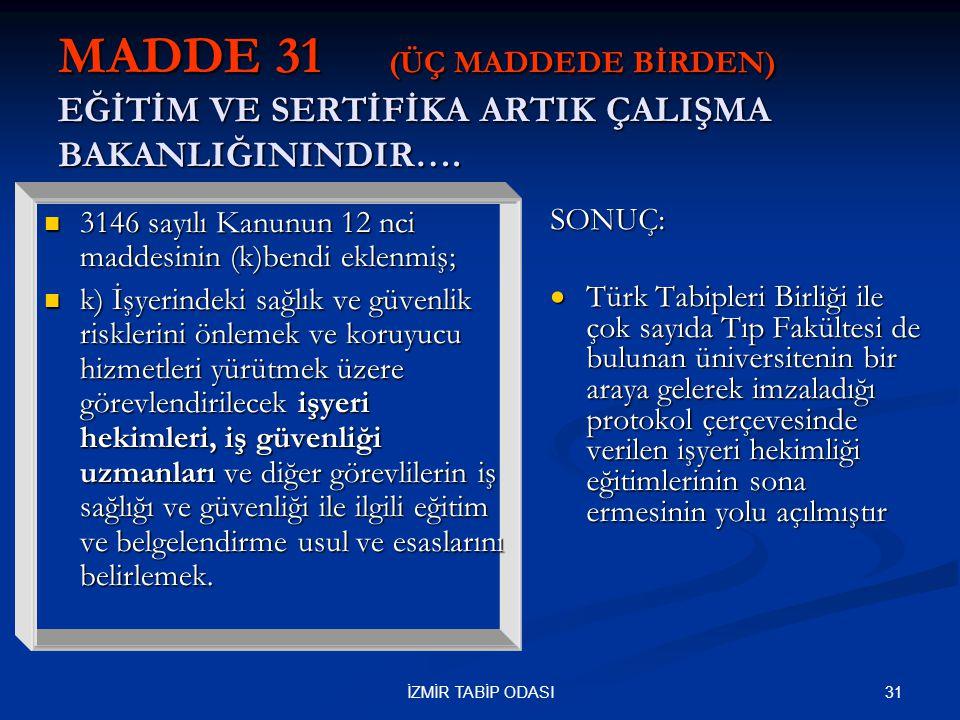 31İZMİR TABİP ODASI MADDE 31 (ÜÇ MADDEDE BİRDEN) EĞİTİM VE SERTİFİKA ARTIK ÇALIŞMA BAKANLIĞININDIR….  3146 sayılı Kanunun 12 nci maddesinin (k)bendi