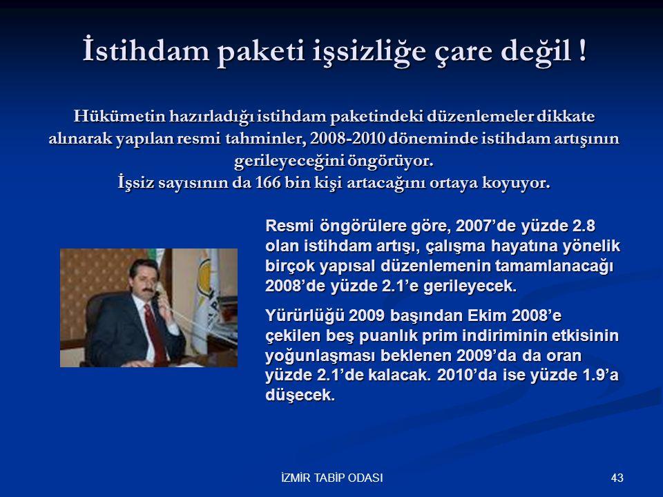 43İZMİR TABİP ODASI İstihdam paketi işsizliğe çare değil ! Hükümetin hazırladığı istihdam paketindeki düzenlemeler dikkate alınarak yapılan resmi tahm