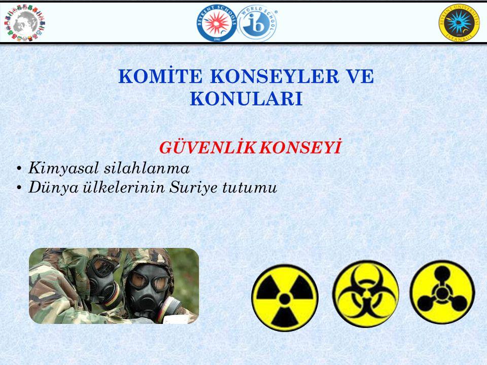 GÜVENLİK KONSEYİ • Kimyasal silahlanma • Dünya ülkelerinin Suriye tutumu KOMİTE KONSEYLER VE KONULARI