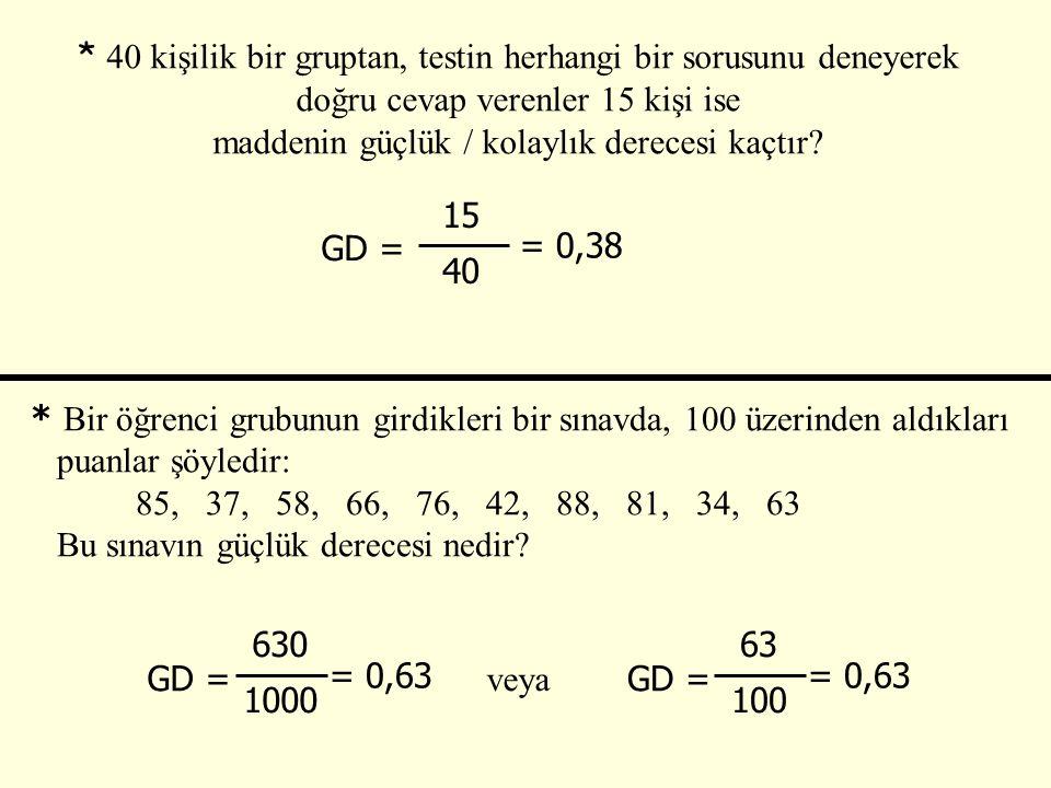 * 40 kişilik bir gruptan, testin herhangi bir sorusunu deneyerek doğru cevap verenler 15 kişi ise maddenin güçlük / kolaylık derecesi kaçtır? GD = 15