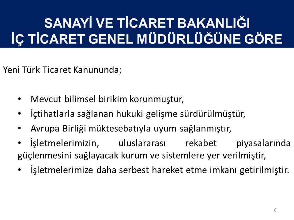 SANAYİ VE TİCARET BAKANLIĞI İÇ TİCARET GENEL MÜDÜRLÜĞÜNE GÖRE Yeni Türk Ticaret Kanununda; • Mevcut bilimsel birikim korunmuştur, • İçtihatlarla sağla