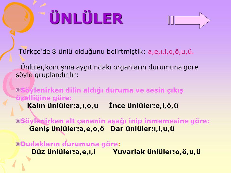 ÜNLÜLER Türkçe'de 8 ünlü olduğunu belirtmiştik: a,e,ı,i,o,ö,u,ü. Ünlüler,konuşma aygıtındaki organların durumuna göre şöyle gruplandırılır: Söylenirke