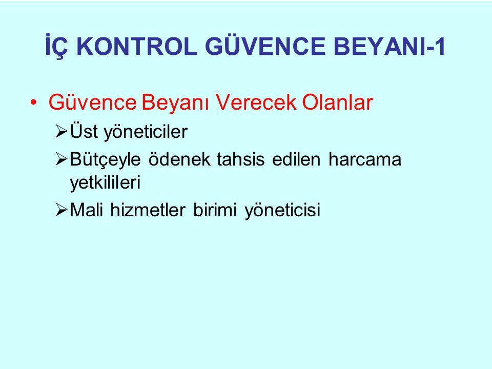 İÇ KONTROL GÜVENCE BEYANI-1 •Güvence Beyanı Verecek Olanlar  Üst yöneticiler  Bütçeyle ödenek tahsis edilen harcama yetkilileri  Mali hizmetler bir