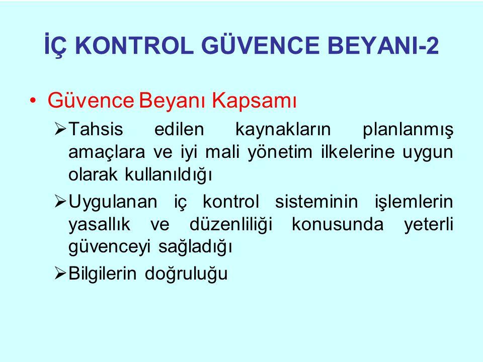 İÇ KONTROL GÜVENCE BEYANI-2 •Güvence Beyanı Kapsamı  Tahsis edilen kaynakların planlanmış amaçlara ve iyi mali yönetim ilkelerine uygun olarak kullan