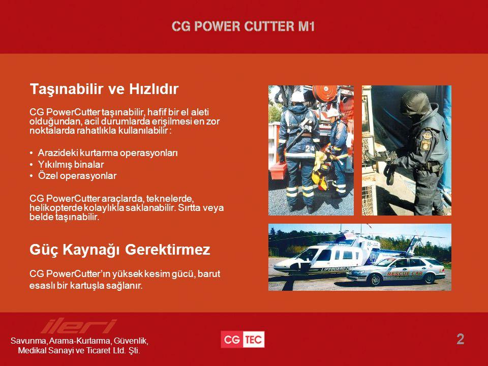 Taşınabilir ve Hızlıdır CG PowerCutter taşınabilir, hafif bir el aleti olduğundan, acil durumlarda erişilmesi en zor noktalarda rahatlıkla kullanılabi