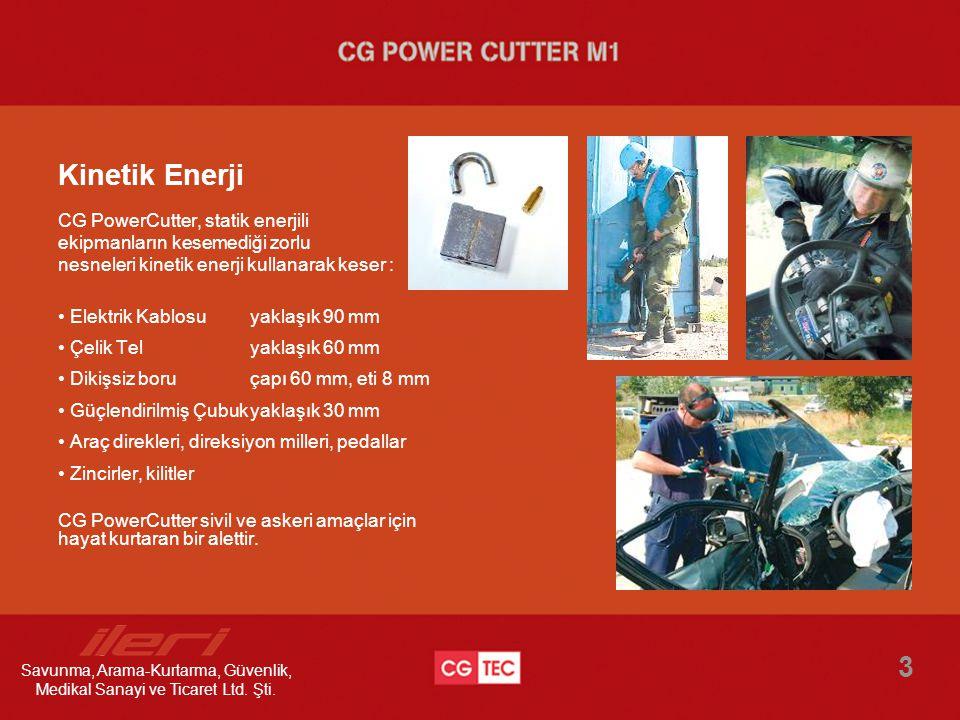 Kinetik Enerji CG PowerCutter, statik enerjili ekipmanların kesemediği zorlu nesneleri kinetik enerji kullanarak keser : • Elektrik Kablosuyaklaşık 90