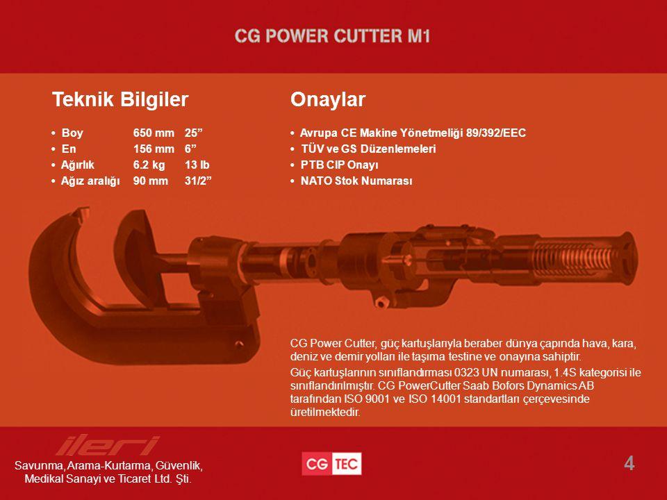 CG Power Cutter, güç kartuşlarıyla beraber dünya çapında hava, kara, deniz ve demir yolları ile taşıma testine ve onayına sahiptir. Güç kartuşlarının
