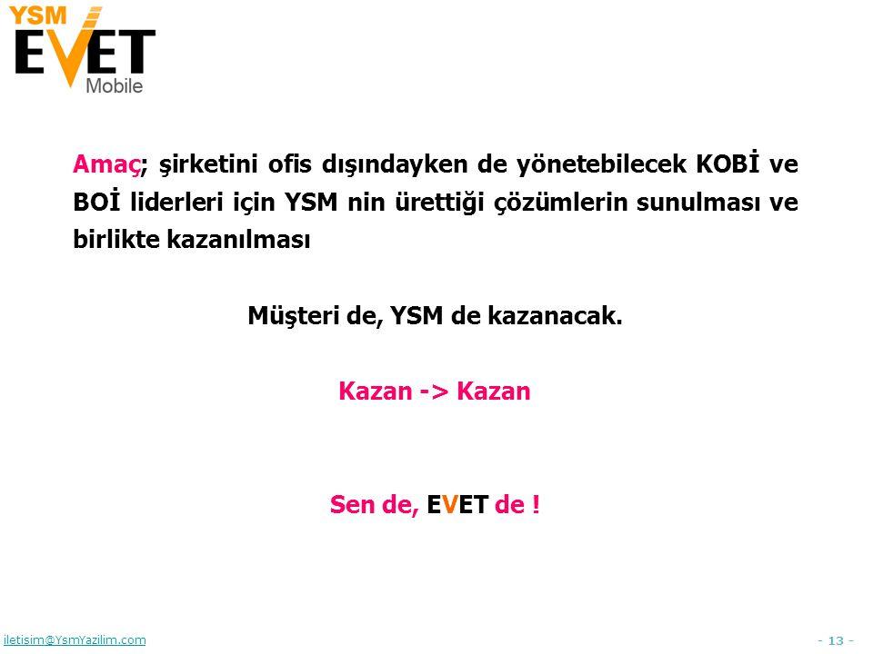 - 13 - iletisim@YsmYazilim.com Amaç; şirketini ofis dışındayken de yönetebilecek KOBİ ve BOİ liderleri için YSM nin ürettiği çözümlerin sunulması ve birlikte kazanılması Müşteri de, YSM de kazanacak.
