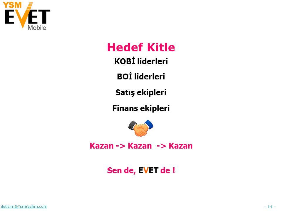 - 14 - iletisim@YsmYazilim.com Hedef Kitle KOBİ liderleri BOİ liderleri Satış ekipleri Finans ekipleri Kazan -> Kazan -> Kazan Sen de, EVET de !