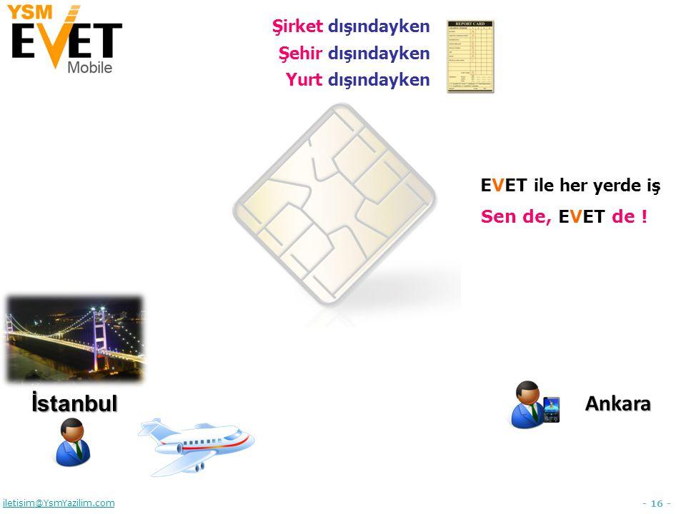 - 16 - iletisim@YsmYazilim.comİstanbulAnkara Şirket dışındayken Şehir dışındayken Yurt dışındayken EVET ile her yerde iş Sen de, EVET de !