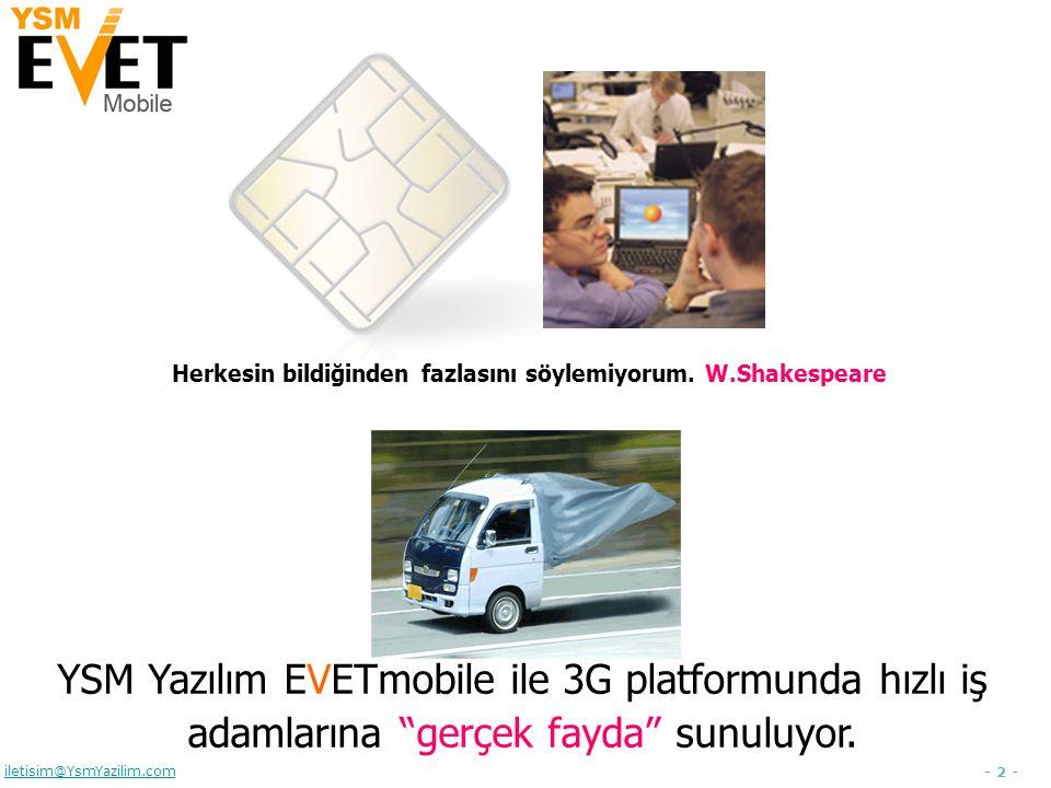 - 3 - iletisim@YsmYazilim.com Sunum Ajandası  YSM Yazılım hakkında  EVET hakkında  EVETmobile hakkında  Amaç  Hedef Kitle  Teknik Mimari  Fonksiyonalite