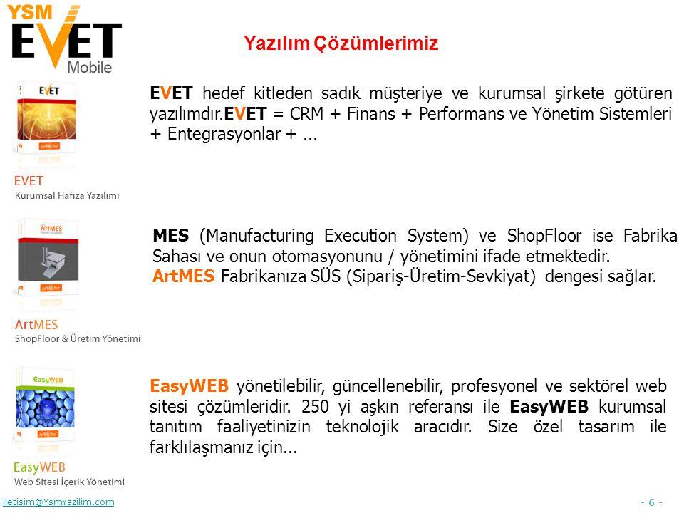 - 27 - iletisim@YsmYazilim.com Sipariş Raporu Sipariş, Ürün/Hizmet, Miktar, Fiyat, Teslimat, Ödeme İhtimal, Performans, …… Şirket dışındayken de sipariş raporlarına ulaşabilmeli ve sipariş sürecini çok iyi yönetmeliyiz.
