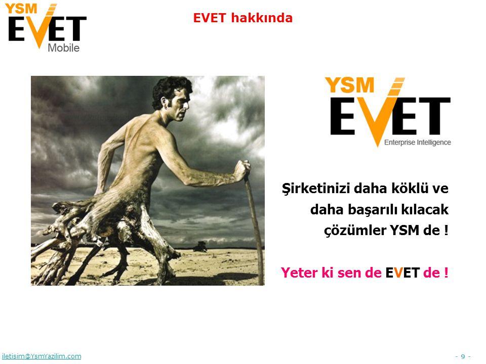 - 10 - iletisim@YsmYazilim.com