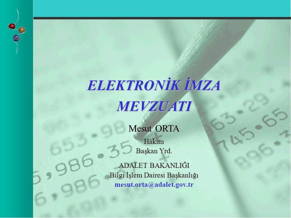 ELEKTRONİK İMZA MEVZUATI Mesut ORTA Hâkim Başkan Yrd.