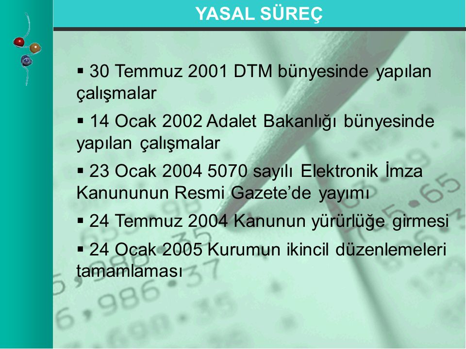   30 Temmuz 2001 DTM bünyesinde yapılan çalışmalar   14 Ocak 2002 Adalet Bakanlığı bünyesinde yapılan çalışmalar   23 Ocak 2004 5070 sayılı Elek