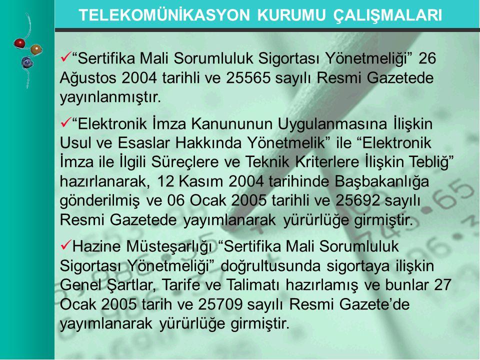"""TELEKOMÜNİKASYON KURUMU ÇALIŞMALARI   """"Sertifika Mali Sorumluluk Sigortası Yönetmeliği"""" 26 Ağustos 2004 tarihli ve 25565 sayılı Resmi Gazetede yayın"""