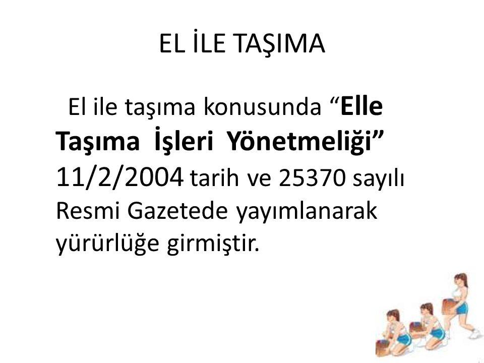 """EL İLE TAŞIMA El ile taşıma konusunda """" Elle Taşıma İşleri Yönetmeliği"""" 11/2/2004 tarih ve 25370 sayılı Resmi Gazetede yayımlanarak yürürlüğe girmişti"""