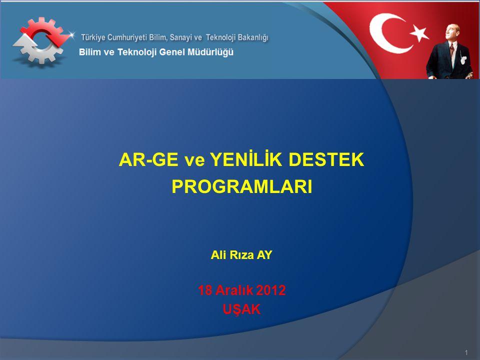 AR-GE ve YENİLİK DESTEK PROGRAMLARI Ali Rıza AY 18 Aralık 2012 UŞAK 1