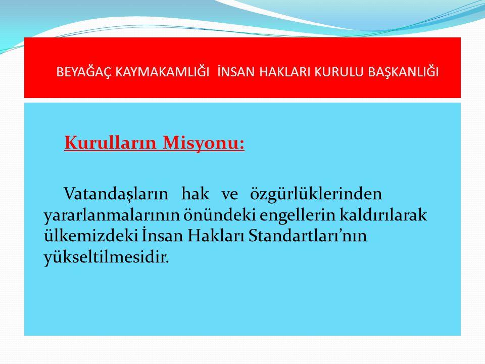 Kurulların Misyonu: Vatandaşların hak ve özgürlüklerinden yararlanmalarının önündeki engellerin kaldırılarak ülkemizdeki İnsan Hakları Standartları'nı