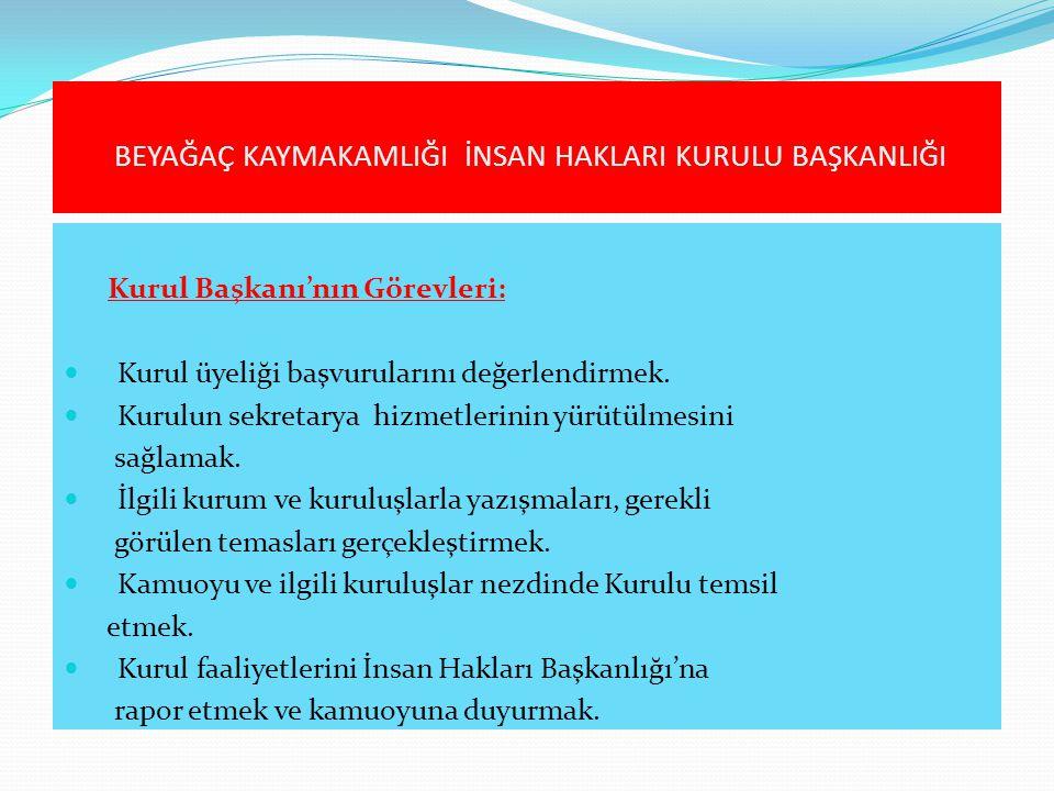 Kurul Başkanı'nın Görevleri:  Kurul üyeliği başvurularını değerlendirmek.  Kurulun sekretarya hizmetlerinin yürütülmesini sağlamak.  İlgili kurum v