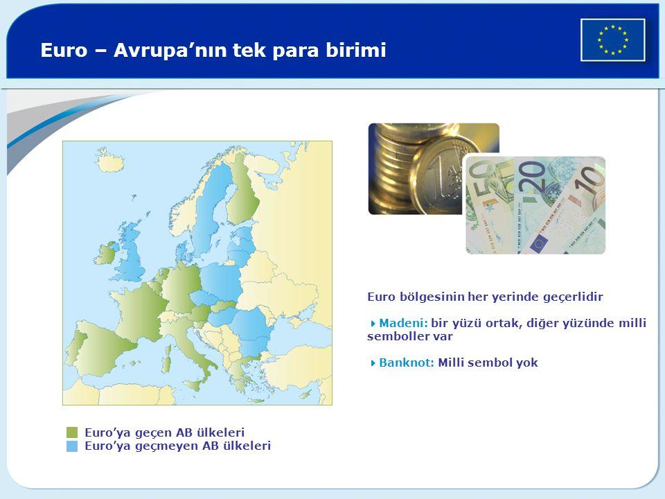 Euro – Avrupa'nın tek para birimi Euro'ya geçen AB ülkeleri Euro'ya geçmeyen AB ülkeleri Euro bölgesinin her yerinde geçerlidir  Madeni: bir yüzü ortak, diğer yüzünde milli semboller var  Banknot: Milli sembol yok