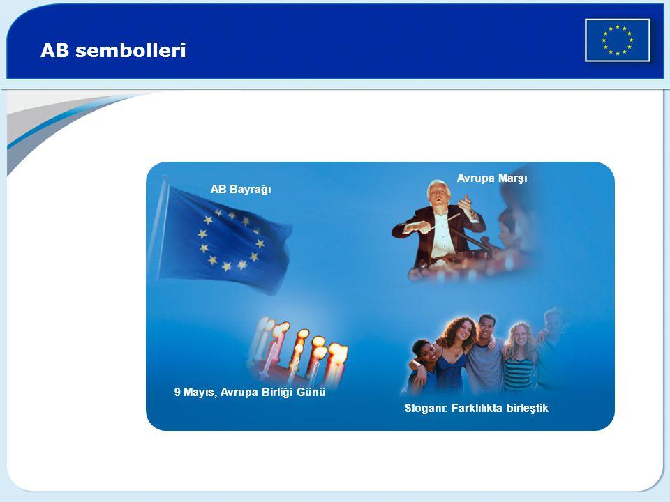 AB sembolleri AB Bayrağı Avrupa Marşı 9 Mayıs, Avrupa Birliği Günü Sloganı: Farklılıkta birleştik