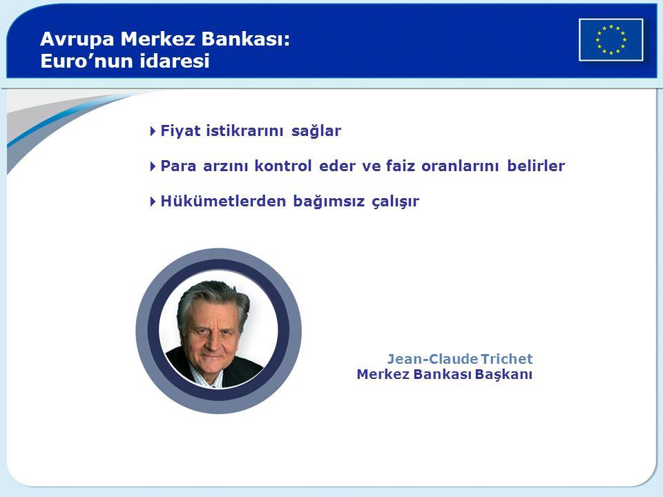  Fiyat istikrarını sağlar  Para arzını kontrol eder ve faiz oranlarını belirler  Hükümetlerden bağımsız çalışır Avrupa Merkez Bankası: Euro'nun idaresi Jean-Claude Trichet Merkez Bankası Başkanı