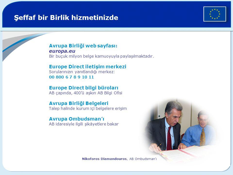 Şeffaf bir Birlik hizmetinizde Avrupa Birliği web sayfası: europa.eu Bir buçuk milyon belge kamuoyuyla paylaşılmaktadır. Europe Direct iletişim merkez