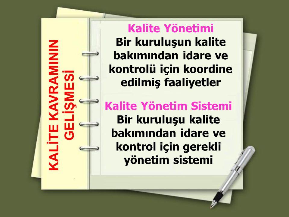 Kalite Yönetim Sistemi Bir kuruluşu kalite bakımından idare ve kontrol için gerekli yönetim sistemi KALİTE KAVRAMININ GELİŞMESİ Kalite Yönetimi Bir ku