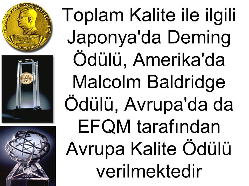 Toplam Kalite ile ilgili Japonya'da Deming Ödülü, Amerika'da Malcolm Baldridge Ödülü, Avrupa'da da EFQM tarafından Avrupa Kalite Ödülü verilmektedir