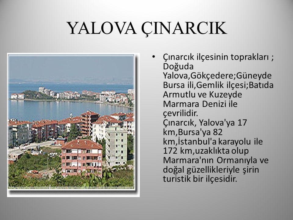 YALOVA ÇINARCIK • Çınarcık ilçesinin toprakları ; Doğuda Yalova,Gökçedere;Güneyde Bursa ili,Gemlik ilçesi;Batıda Armutlu ve Kuzeyde Marmara Denizi ile