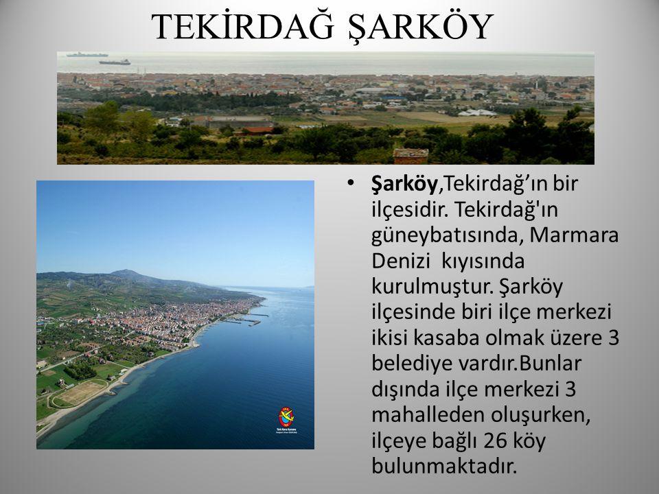 TEKİRDAĞ ŞARKÖY • Şarköy,Tekirdağ'ın bir ilçesidir. Tekirdağ'ın güneybatısında, Marmara Denizi kıyısında kurulmuştur. Şarköy ilçesinde biri ilçe merke