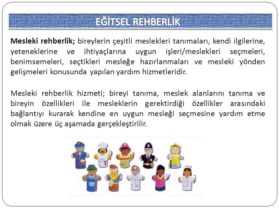 1) Okul öncesi ve ilkokul kademesi (5-11 yaş): Bu dönem meslek gelişim açısından uyanış ve farkında olma dönemidir.