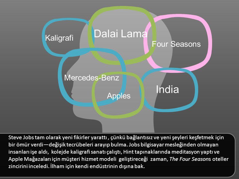 Dalai Lama India Four Seasons Mercedes-Benz Kaligrafi Apples Steve Jobs tam olarak yeni fikirler yarattı, çünkü bağlantısız ve yeni şeyleri keşfetmek için bir ömür verdi—değişik tecrübeleri arayıp bulma.