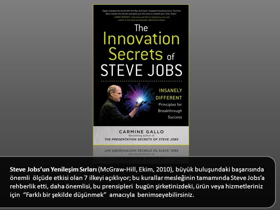 Steve Jobs'un Yenileşim Sırları (McGraw-Hill, Ekim, 2010), büyük buluşundaki başarısında önemli ölçüde etkisi olan 7 ilkeyi açıklıyor; bu kurallar mesleğinin tamamında Steve Jobs'a rehberlik etti, daha önemlisi, bu prensipleri bugün şirketinizdeki, ürün veya hizmetleriniz için Farklı bir şekilde düşünmek amacıyla benimseyebilirsiniz.