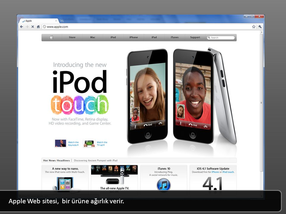 Apple Web sitesi, bir ürüne ağırlık verir.