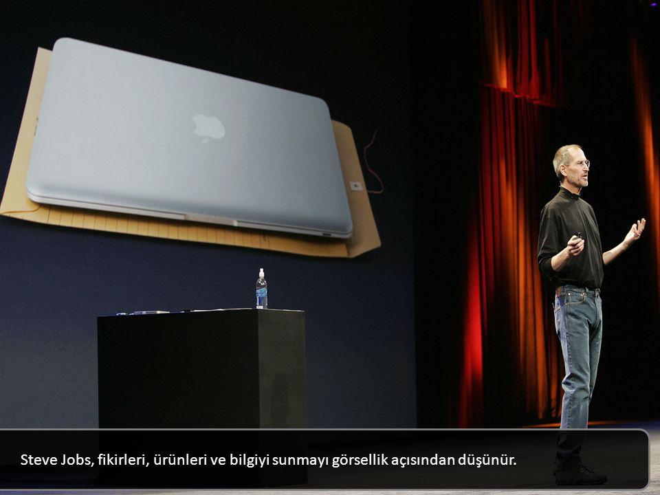 Steve Jobs, fikirleri, ürünleri ve bilgiyi sunmayı görsellik açısından düşünür.