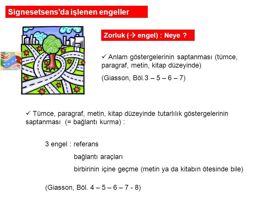 Zorluk (  engel) : Neye .(devam):  Sözcükleri somut çağrışım olarak tercüme etmek (Giasson, Böl.