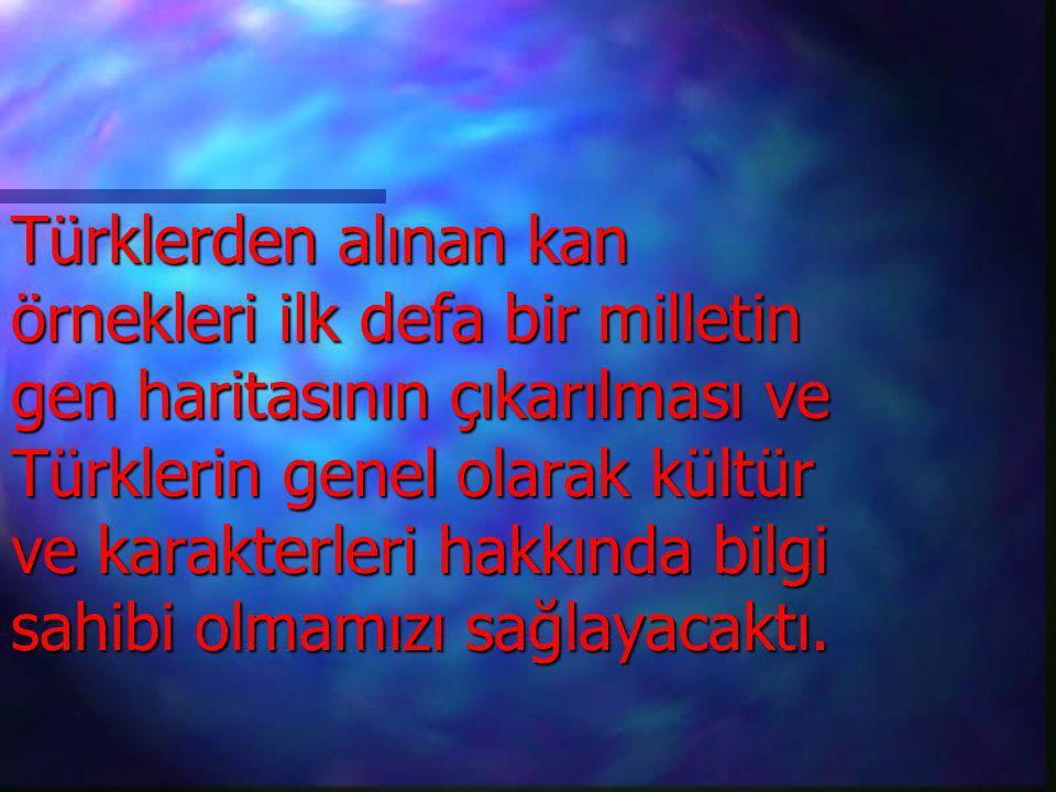 Türklerden alınan kan örnekleri ilk defa bir milletin gen haritasının çıkarılması ve Türklerin genel olarak kültür ve karakterleri hakkında bilgi sahi