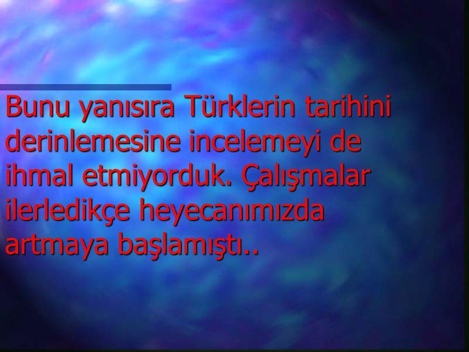 Bunu yanısıra Türklerin tarihini derinlemesine incelemeyi de ihmal etmiyorduk. Çalışmalar ilerledikçe heyecanımızda artmaya başlamıştı..