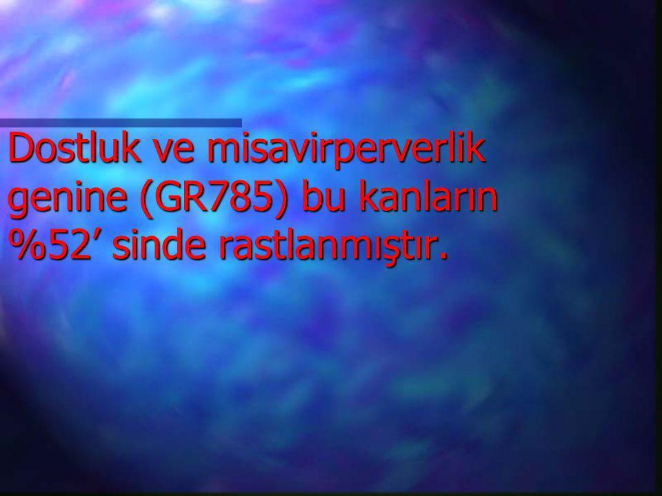 Dostluk ve misavirperverlik genine (GR785) bu kanların %52' sinde rastlanmıştır.