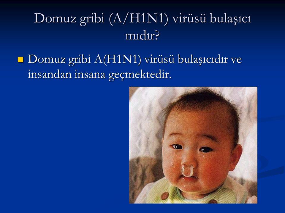 Domuz gribi (A/H1N1) virüsü bulaşıcı mıdır?  Domuz gribi A(H1N1) virüsü bulaşıcıdır ve insandan insana geçmektedir.