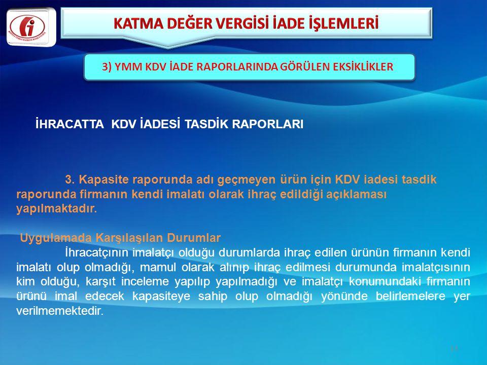 3. Kapasite raporunda adı geçmeyen ürün için KDV iadesi tasdik raporunda firmanın kendi imalatı olarak ihraç edildiği açıklaması yapılmaktadır. Uygula