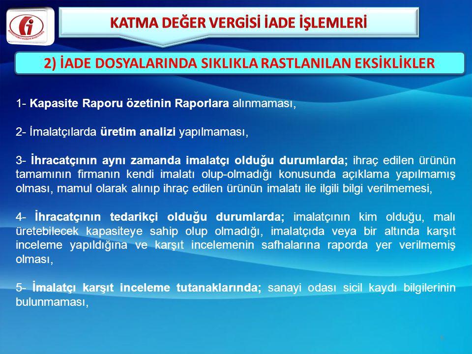 1- Kapasite Raporu özetinin Raporlara alınmaması, 2- İmalatçılarda üretim analizi yapılmaması, 3- İhracatçının aynı zamanda imalatçı olduğu durumlarda