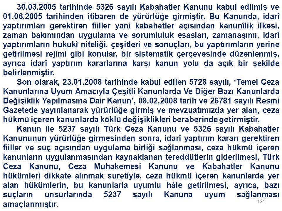 121 30.03.2005 tarihinde 5326 sayılı Kabahatler Kanunu kabul edilmiş ve 01.06.2005 tarihinden itibaren de yürürlüğe girmiştir.
